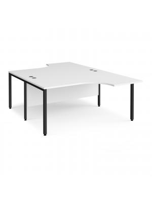 Maestro 25 back to back ergonomic desks 1600mm deep - black bench leg frame, white top