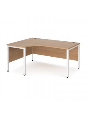 Maestro 25 left hand ergonomic desk 1600mm wide - white bench leg frame, beech top