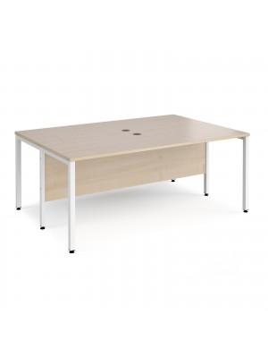 Maestro 25 back to back straight desks 1800mm x 1200mm - white bench leg frame, maple top