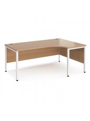 Maestro 25 right hand ergonomic desk 1800mm wide - white bench leg frame, beech top