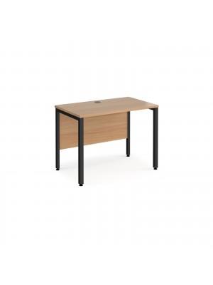 Maestro 25 straight desk 1000mm x 600mm - black bench leg frame, beech top