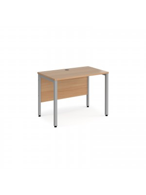 Maestro 25 straight desk 1000mm x 600mm - silver bench leg frame, beech top