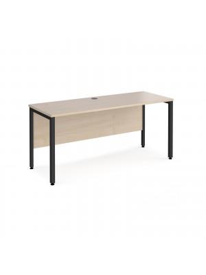 Maestro 25 straight desk 1600mm x 600mm - black bench leg frame, maple top
