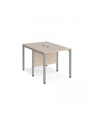 Maestro 25 back to back straight desks 800mm x 1200mm - silver bench leg frame, maple top
