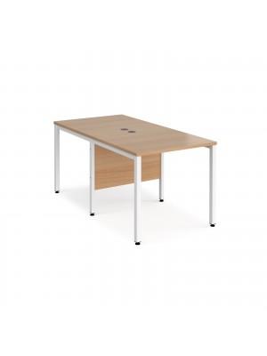 Maestro 25 back to back straight desks 800mm x 1600mm - white bench leg frame, beech top