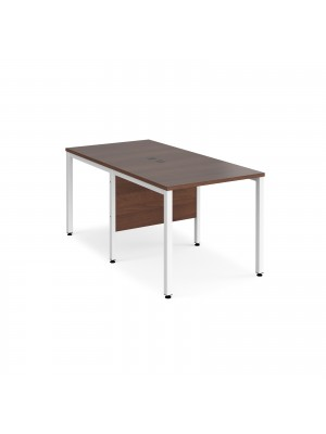 Maestro 25 back to back straight desks 800mm x 1600mm - white bench leg frame, walnut top
