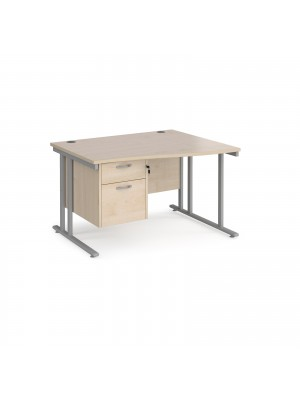Maestro 25 right hand wave desk 1200mm wide with 2 drawer pedestal - silver cantilever leg frame, maple top