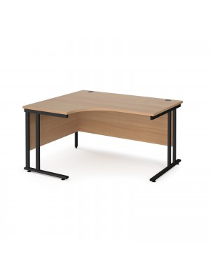 Maestro 25 left hand ergonomic desk 1400mm wide - black cantilever leg frame, beech top