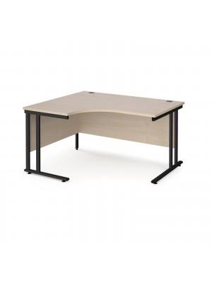 Maestro 25 left hand ergonomic desk 1400mm wide - black cantilever leg frame, maple top