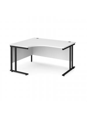 Maestro 25 left hand ergonomic desk 1400mm wide - black cantilever leg frame, white top