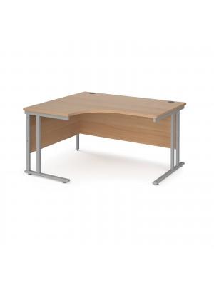 Maestro 25 left hand ergonomic desk 1400mm wide - silver cantilever leg frame, beech top