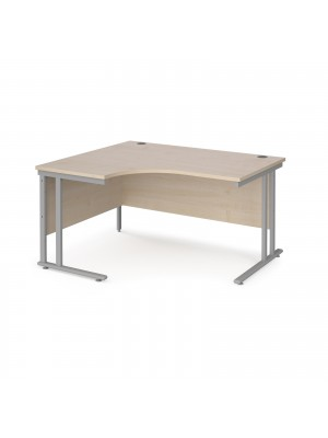 Maestro 25 left hand ergonomic desk 1400mm wide - silver cantilever leg frame, maple top