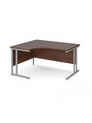 Maestro 25 left hand ergonomic desk 1400mm wide - silver cantilever leg frame, walnut top