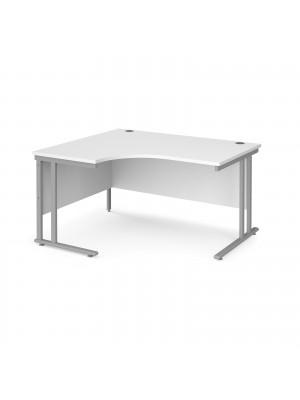 Maestro 25 left hand ergonomic desk 1400mm wide - silver cantilever leg frame, white top