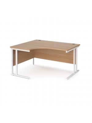 Maestro 25 left hand ergonomic desk 1400mm wide - white cantilever leg frame, beech top