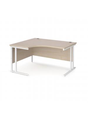 Maestro 25 left hand ergonomic desk 1400mm wide - white cantilever leg frame, maple top