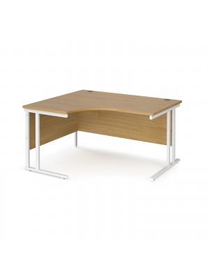 Maestro 25 left hand ergonomic desk 1400mm wide - white cantilever leg frame, oak top