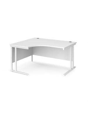 Maestro 25 left hand ergonomic desk 1400mm wide - white cantilever leg frame, white top