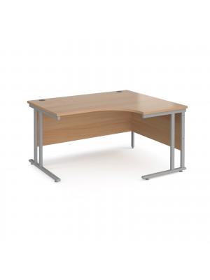 Maestro 25 right hand ergonomic desk 1400mm wide - silver cantilever leg frame, beech top