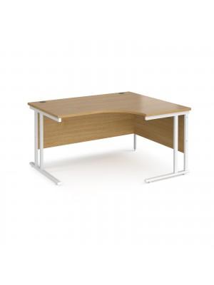 Maestro 25 right hand ergonomic desk 1400mm wide - white cantilever leg frame, oak top