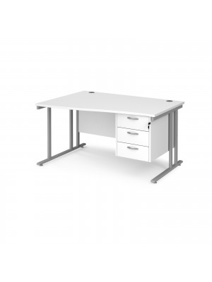 Maestro 25 left hand wave desk 1400mm wide with 3 drawer pedestal - silver cantilever leg frame, white top