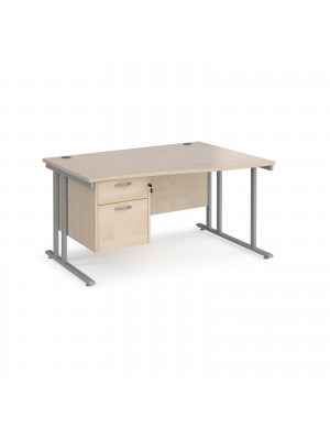 Maestro 25 right hand wave desk 1400mm wide with 2 drawer pedestal - silver cantilever leg frame, maple top