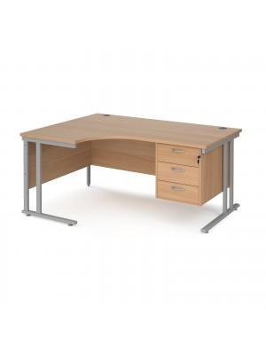 Maestro 25 left hand ergonomic desk 1600mm wide with 3 drawer pedestal - silver cantilever leg frame, beech top