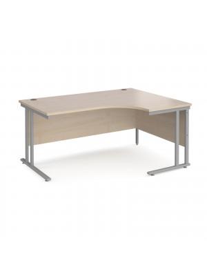 Maestro 25 right hand ergonomic desk 1600mm wide - silver cantilever leg frame, maple top