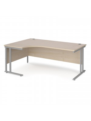 Maestro 25 left hand ergonomic desk 1800mm wide - silver cantilever leg frame, maple top