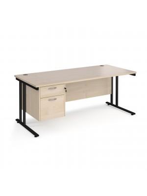 Maestro 25 straight desk 1800mm x 800mm with 2 drawer pedestal - black cantilever leg frame, maple top