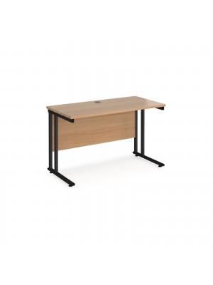 Maestro 25 straight desk 1200mm x 600mm - black cantilever leg frame, beech top