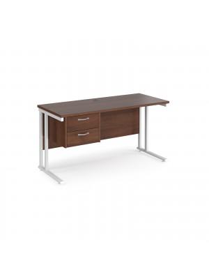 Maestro 25 straight desk 1400mm x 600mm with 2 drawer pedestal - white cantilever leg frame, walnut top