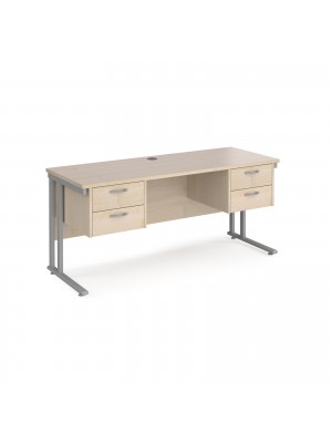 Maestro 25 straight desk 1600mm x 600mm with two x 2 drawer pedestals - silver cantilever leg frame, maple top