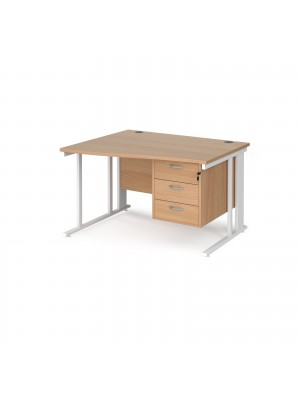 Maestro 25 left hand wave desk 1200mm wide with 3 drawer pedestal - white cable managed leg frame, beech top