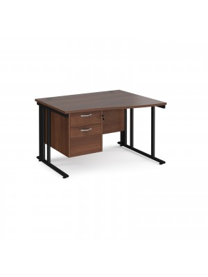 Maestro 25 right hand wave desk 1200mm wide with 2 drawer pedestal - black cable managed leg frame, walnut top