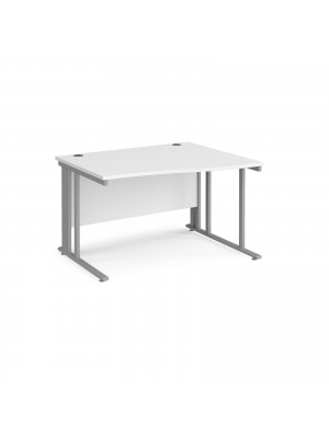 Maestro 25 right hand wave desk 1200mm wide - silver cable managed leg frame, white top