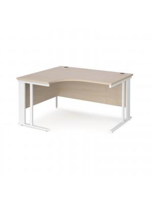 Maestro 25 left hand ergonomic desk 1400mm wide - white cable managed leg frame, maple top