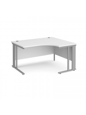 Maestro 25 right hand ergonomic desk 1400mm wide - silver cable managed leg frame, white top
