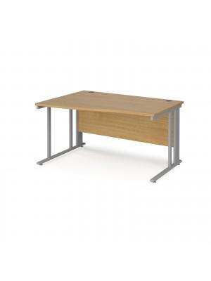 Maestro 25 left hand wave desk 1400mm wide - silver cable managed leg frame, oak top