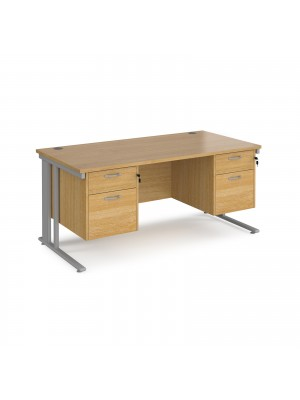Maestro 25 straight desk 1600mm x 800mm with two x 2 drawer pedestals - silver cable managed leg frame, oak top