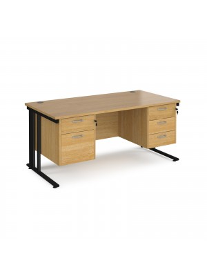 Maestro 25 straight desk 1600mm x 800mm with 2 and 3 drawer pedestals - black cable managed leg frame, oak top