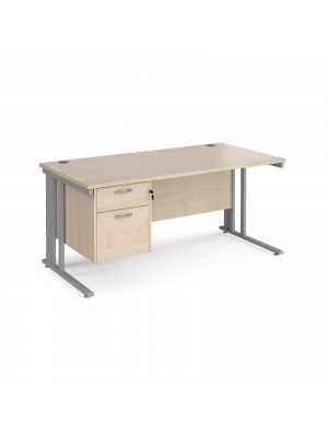 Maestro 25 straight desk 1600mm x 800mm with 2 drawer pedestal - silver cable managed leg frame, maple top
