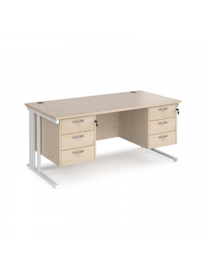 Maestro 25 straight desk 1600mm x 800mm with two x 3 drawer pedestals - white cable managed leg frame, maple top