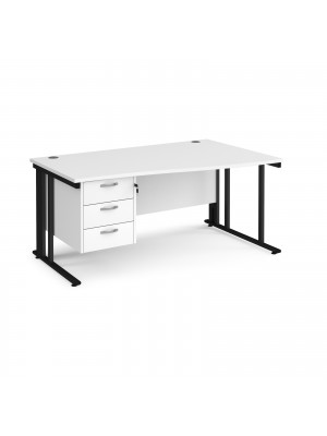 Maestro 25 right hand wave desk 1600mm wide with 3 drawer pedestal - black cable managed leg frame, white top
