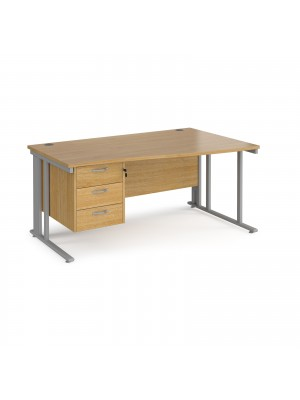 Maestro 25 right hand wave desk 1600mm wide with 3 drawer pedestal - silver cable managed leg frame, oak top