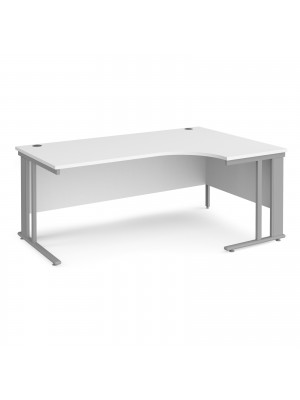 Maestro 25 right hand ergonomic desk 1800mm wide - silver cable managed leg frame, white top