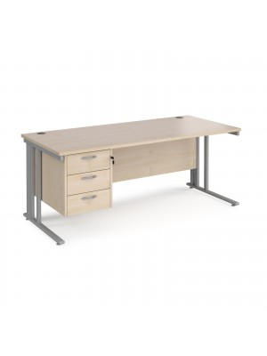 Maestro 25 straight desk 1800mm x 800mm with 3 drawer pedestal - silver cable managed leg frame, maple top