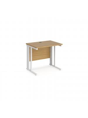 Maestro 25 straight desk 800mm x 600mm - white cable managed leg frame, oak top