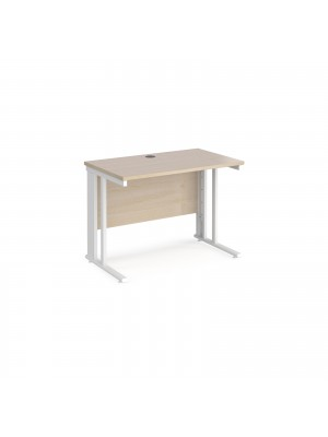 Maestro 25 straight desk 1000mm x 600mm - white cable managed leg frame, maple top