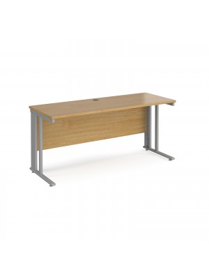 Maestro 25 straight desk 1600mm x 600mm - silver cable managed leg frame, oak top